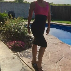 Venus Color Block Body Con Ruched Dress
